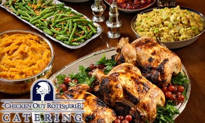 Chicken Out Rotisserie - Multiple Locations: Catered Wings, Sandwiches, Chicken Pot Pie, and More from Chicken Out Rotisserie. Choose from Ten Options.