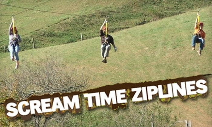 Scream Time Zipline - Cove Creek: $40 for a Guided Tour With Scream Time Zipline ($89 Value)