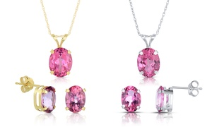 4.75 Cttw Mystic Topaz Earring And Pendant Set In 14k Gold