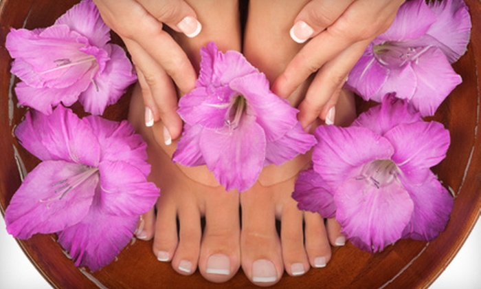 The Hair Station - Southwest Elgin: One or Three Mani-Pedis at The Hair Station in Elgin (Up to 54% Off)