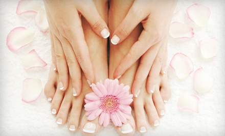 1 Mani-Pedi with Himalayan Salt Scrub and Green Tea Hand/Foot Detox Mask (a $75 value) - Emerald Day Spa in Arcadia