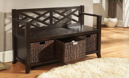 Simpli Home Adrien Entryway Storage Bench with Baskets