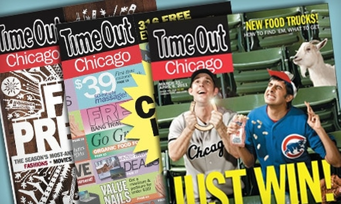 "Time Out Chicago - Multiple Locations: $8 for a One-Year Subscription (49 Issues) to ""Time Out Chicago"" Magazine ($19.99 Value)"