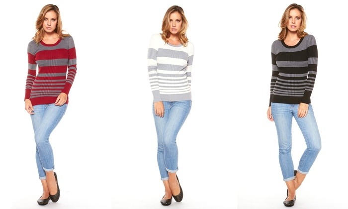 Women's Striped Ribbed Sweaters | Groupon Goods