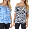 Women's Off-Shoulder Missy Printed Tops