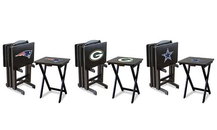 Set Of 4 Nfl Tv Trays With Stand