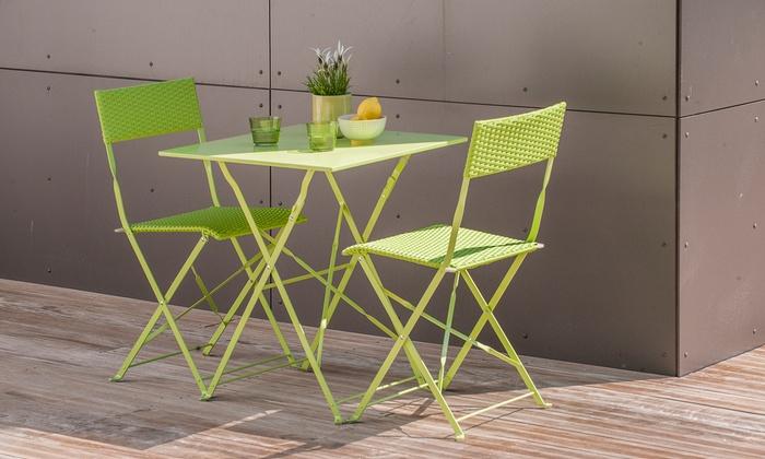 Ensemble d'une table carré pliante + 2 chaises pliantes en Résine tressée