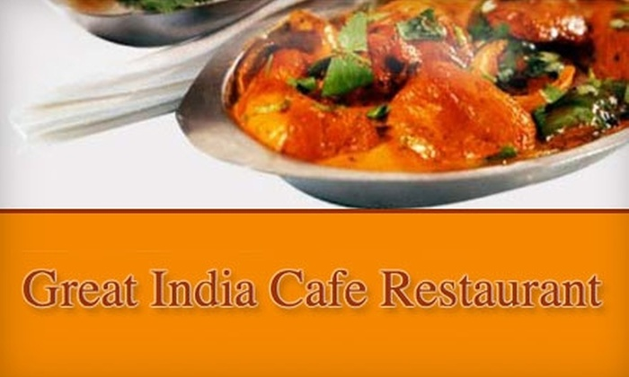 Great India Café  - Multiple Locations: $10 for $20 Worth of Indian Cuisine and Drinks at Great India Café in Woodland Hills