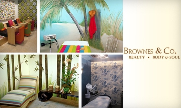 Brownes & Co. - Multiple Locations: $40 Mani-Pedi with Eyebrow Shaping or $49 for 50-Minute Massage at Brownes & Co.
