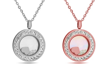 one or two floating heart pendants made with crystals from swarovski®