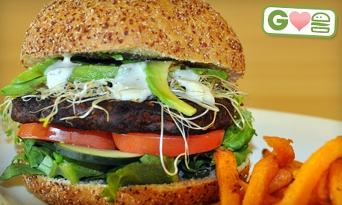 Pure Healthy Eatery - The Woodlands: $9 for Two Chipotle Bean Burgers at Pure Healthy Eatery in The Woodlands ($17 Value)