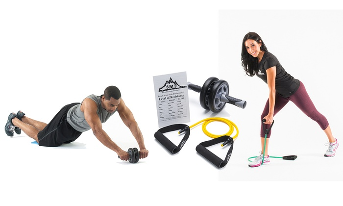 Black Mountain Products Ab Wheel, Resistance Band, and Exercise Chart