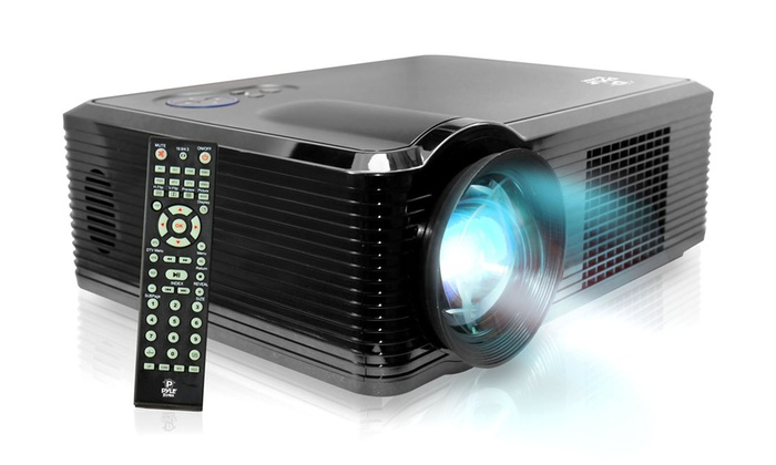 "Pyle Widescreen LED Projector With Up To 100"" Viewing Screen, Built-in Speakers, and 1080p Full HD Support"