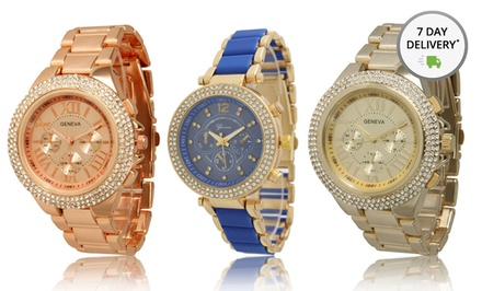 Geneva Women's Boyfriend Dual Stone or Tri-Stone Watch. Multiple Colors Available. Free Returns.