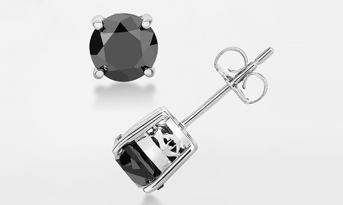 1 2 Cttw Black Diamond Solitaire Earrings By Femme Luxe