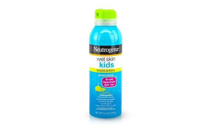 Neutrogena SPF 70 Wet Skin Sunblock Spray for Kids (12-Pack): Neutrogena SPF 70 Wet Skin Sunblock Spray for Kids; 12-Pack of 5 Fl. Oz. Bottles + 5% Back in Groupon Bucks