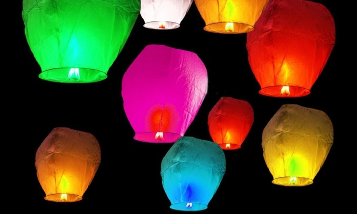 Best Deal In Town - Kiwanis Park: Colorful Paper Sky Lanterns at Best Deal In Town (Up to 60% Off). Four Options Available.
