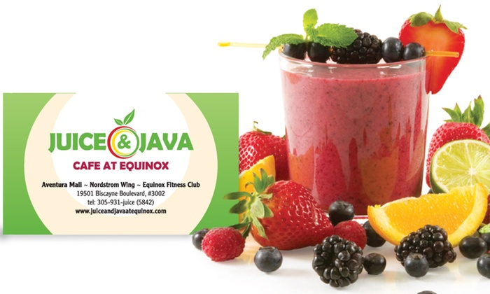 Juice & Java Cafe at Equinox - Aventura Mall: One-Year or Lifetime VIP CLUB Membership Card to Juice & Java Cafe at Equinox (50% Off)