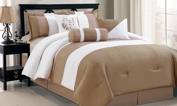 7 piece bed comforter set groupon for Beds groupon
