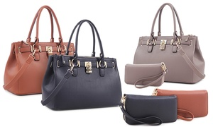Evelyn Vegan Leather Satchel and Double Zipper Wallet Set: Evelyn Vegan Leather Satchel and Double Zipper Wallet Set