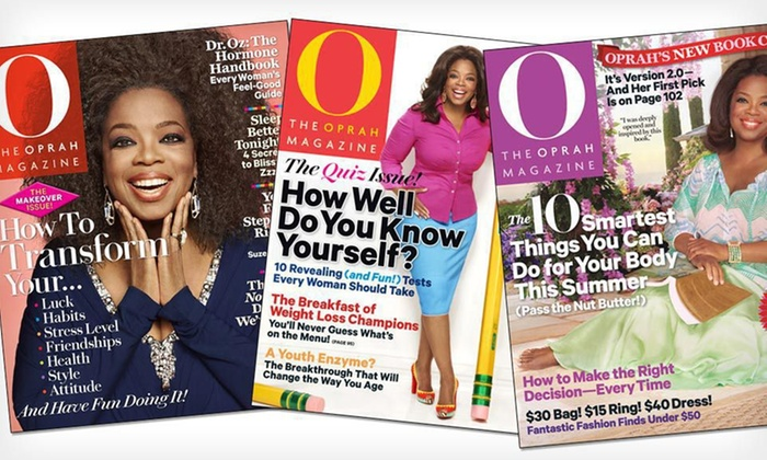 """""""O, The Oprah Magazine"""": $9 for a One-Year Subscription to """"O, The Oprah Magazine"""" ($18 List Price). Free Shipping."""