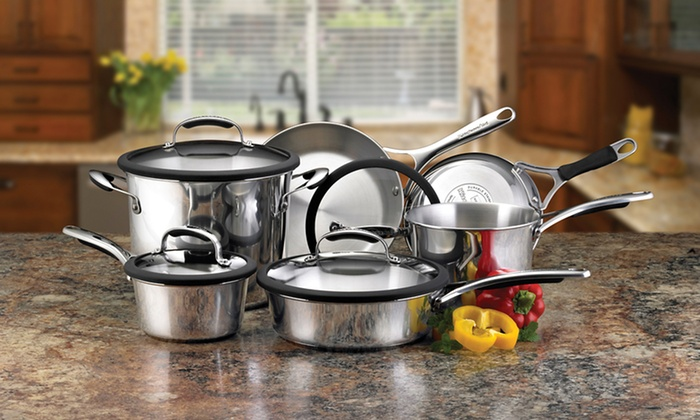 KitchenAid Stainless Steel 10-Piece Cookware Set: $129.99 for a KitchenAid Gourmet Stainless Steel 10-Piece Cookware Set ($220 List Price). Free Shipping and Returns.