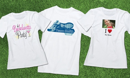 groupon daily deal - Custom Printed Premium Men's or Women's T-Shirt from Vistaprint