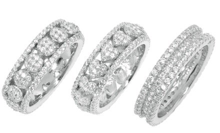 Sterling Silver and Micro-Pave Cubic Zirconia Ring. Multiple Sizes and Styles Available. Free Returns.