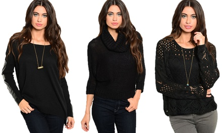 Women's Black Fashion Sweaters