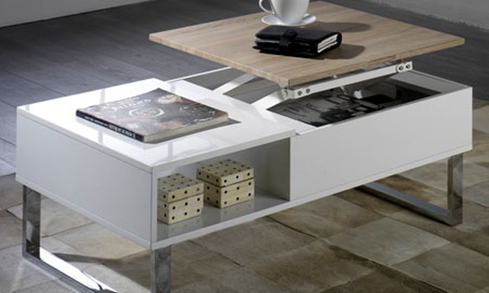 table basse avec plateau relevable groupon shopping. Black Bedroom Furniture Sets. Home Design Ideas