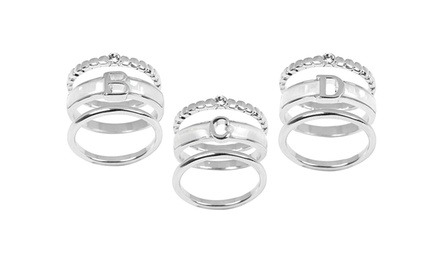 Sterling Silver 3-Ring Set with Initial Ring and Swarovski Stone Ring