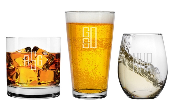 Trio Barware: Four Etched Wine, Beer, or Whiskey Glasses from Trio Barware (Up to 51% Off). Three Options Available.