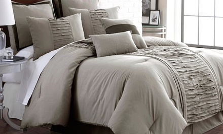 Marilyn 8-Piece Ruffled Comforter Set with Bedskirt, Shams, and Decorative Pillows
