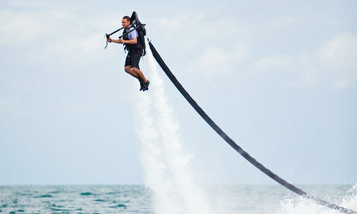 Aqua-Jet Miami - South Pointe: $139 for a 30-Minute Jet Pack Flight with Four-Hour Sunset Boat Tour from Aqua-Jet Miami ($279 Value)