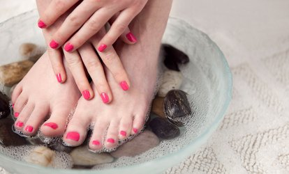 image for $39 for a Spa Mani-Pedi at For Your Eyes Only Creative Hair Salon and Spa ($65 Value)