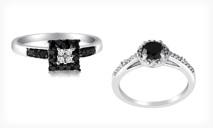 Black and White Diamond Fashion Rings: 1/3- or 1/2-Carat Black and White Diamond Fashion Rings (Up to 61% Off). Free Shipping and Returns.