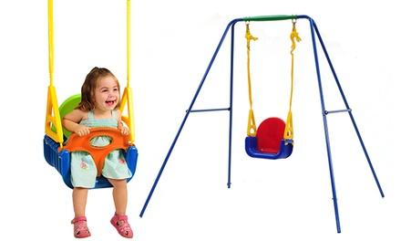 נדנדת חצר צבעונית לילדים בעלת 4 שלבים, עם אפשרות לקונסטרוקציה