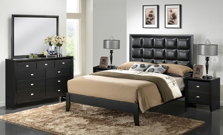 queen 5 piece bedroom set groupon goods. Black Bedroom Furniture Sets. Home Design Ideas