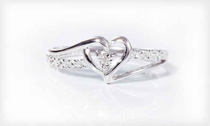 Diamond-Accent Sterling Silver Heart Ring: Diamond-Accent Sterling Silver Heart Ring. Free Returns.
