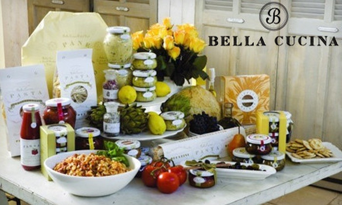 Bella Cucina - Virginia Highland: Gift Bag with Pesto, Flatbread, and Biscotti, or $50 for $100 Worth of Gifts and Gourmet Groceries at Bella Cucina