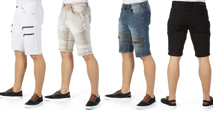 98ec0b2659 Xray Men's Slim-Fit Denim Moto Shorts (Size 30-40) | Groupon
