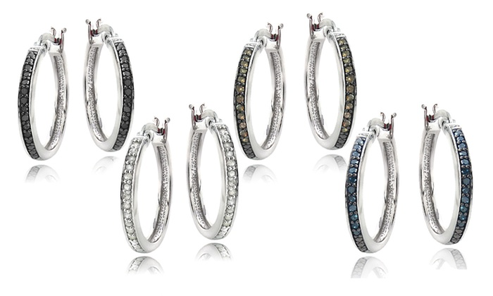 1/4-Carat Diamond Hoop Earrings: 1/4-Carat Diamond Hoop Earrings. Multiple Colors Available. Free Shipping and Returns.