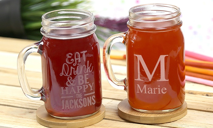 Monogram Online: One or Two Personalized Glass Jars from Monogram Online (Up to 83% Off)