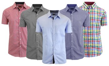 Men's Short Sleeve Slim-Fit Printed Dress Shirt (Sizes S-2XL)
