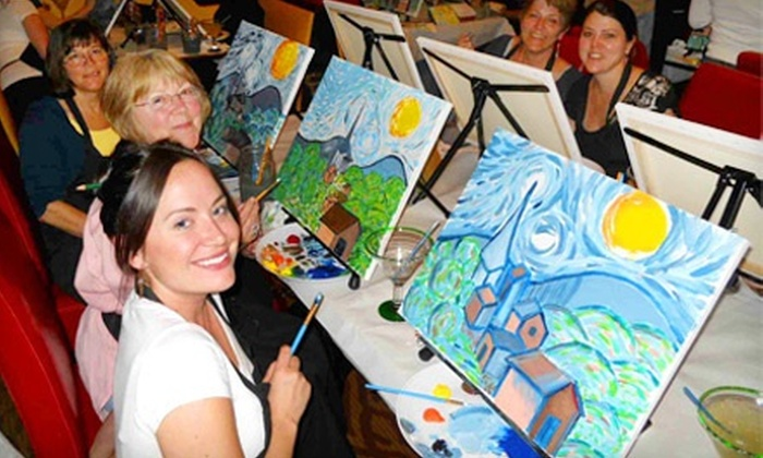 Wine and Canvas - Multiple Locations: Wine and Painting Class for One or Two at Wine and Canvas (Up to 54% Off)