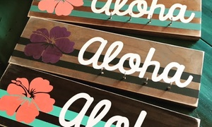"Simply Honeybee Art: Custom Aloha Key Holder or Surfboard Craft Workshop, or a ""Love"" or ""Surf"" Wood-Sign Workshop at Simply Honeybee Art"