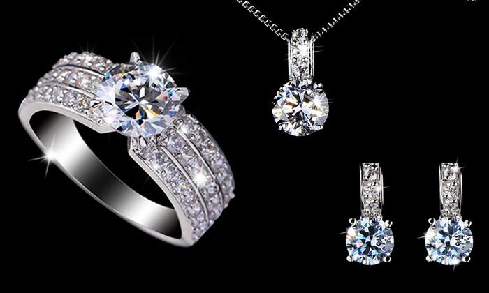 Parure bijoux or blanc