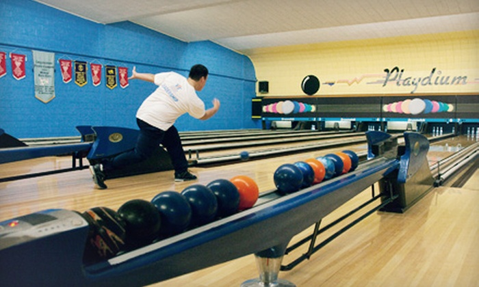 Playdium 5 Pin Lanes - East Windsor: $19 for Five-Pin Bowling for Up to Six with Shoe Rentals and Pitcher of Soda at Playdium 5 Pin Lanes ($40 Value)