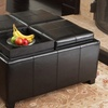 Bonded Leather Storage Ottoman with 4 Tray Flip Tops