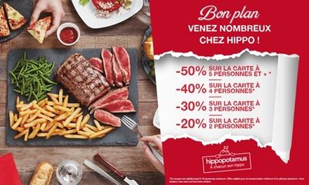Chez Hippopotamus, pour 1€ seulement bénéficiez jusqu'à -50% sur la carte*, valable de 2 à 10 personnes - Moitié NORD